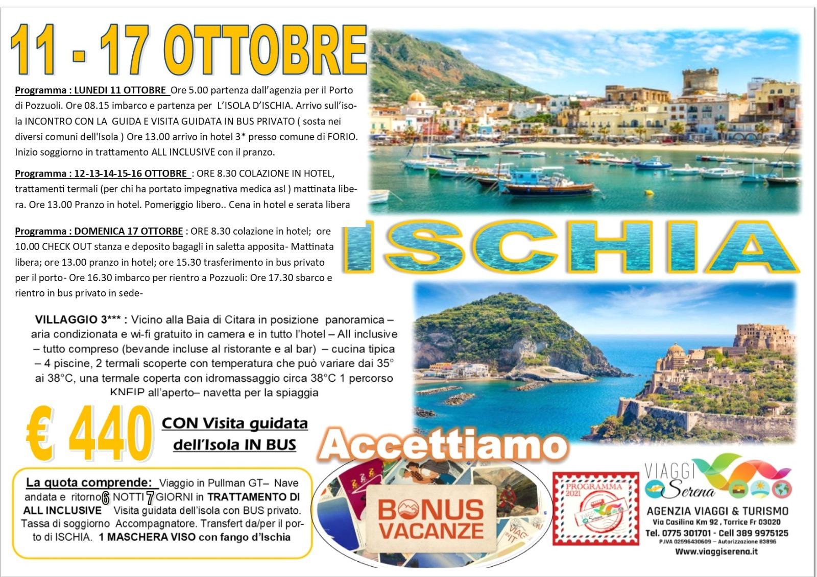 Viaggi di Gruppo: soggiorno Termale ISCHIA 11-17 Ottobre  € 440,00