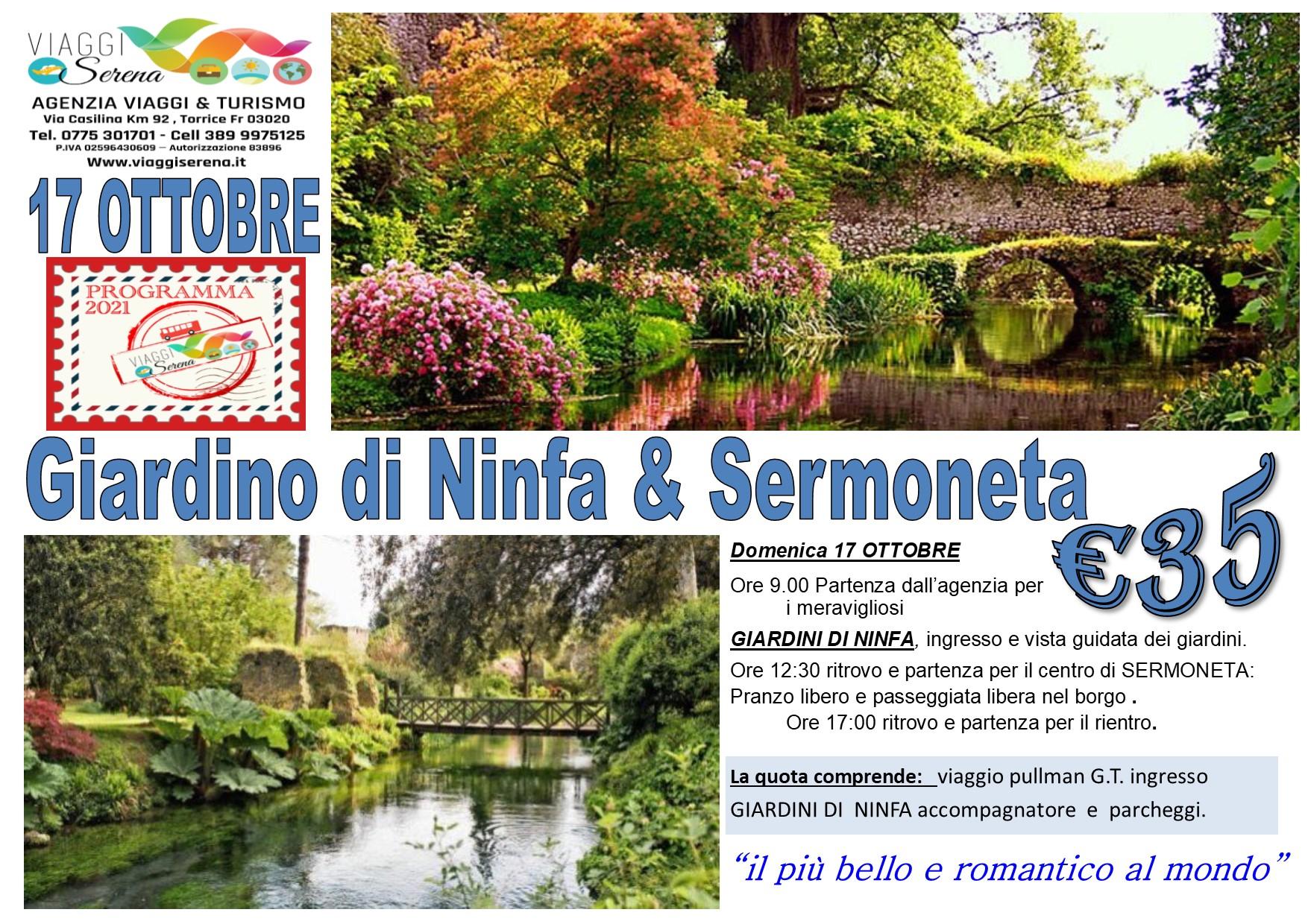 Viaggi di Gruppo: Giardini di NINFA & Sermoneta  17 Ottobre  € 35,00