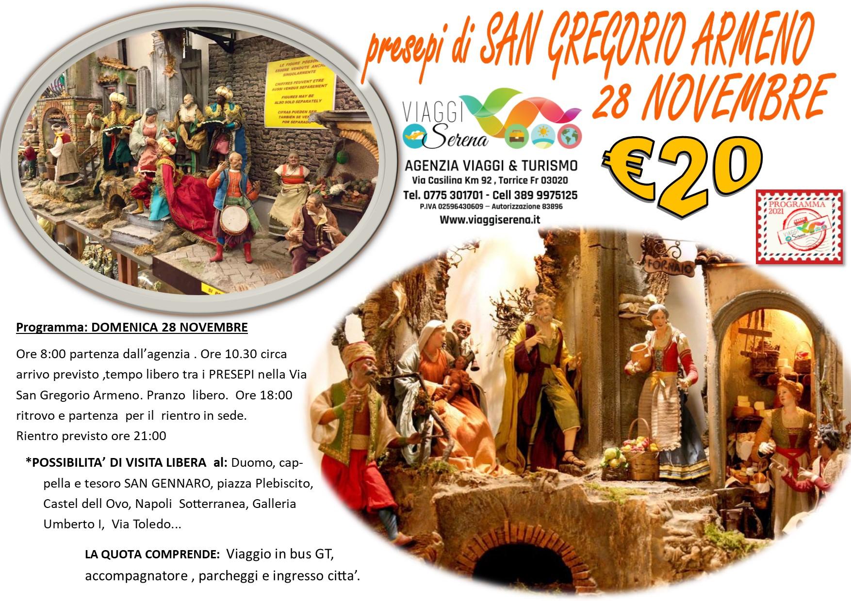 """Viaggi di Gruppo: Presepi di Napoli """"SAN GREGORIO ARMENO"""" 28 Novembre € 20,00"""