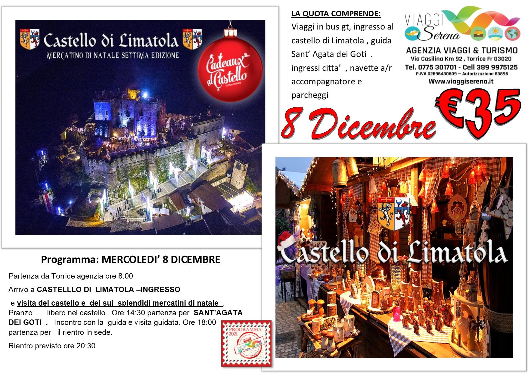 """Viaggi di Gruppo: Castello di Limatola """" Mercatini di Natale"""" & Sant' Agata dei Goti 8 Dicembre € 35,00"""